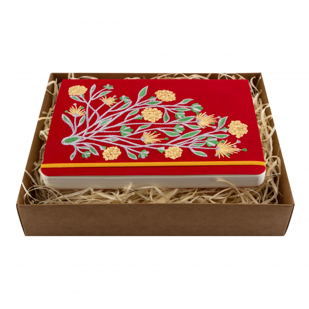 Eco-leather notebook with embroidery Elven flower, red. Photo №1. | Narodnyi dim Ukraine
