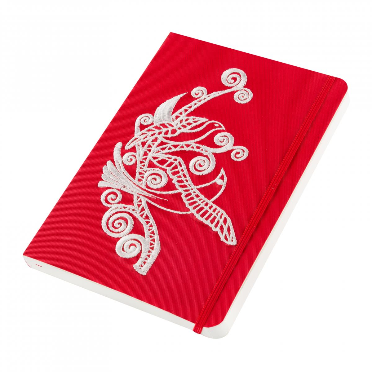 Eco-leather notebook with embroidered Paradise birds, red. Photo №2. | Narodnyi dim Ukraine