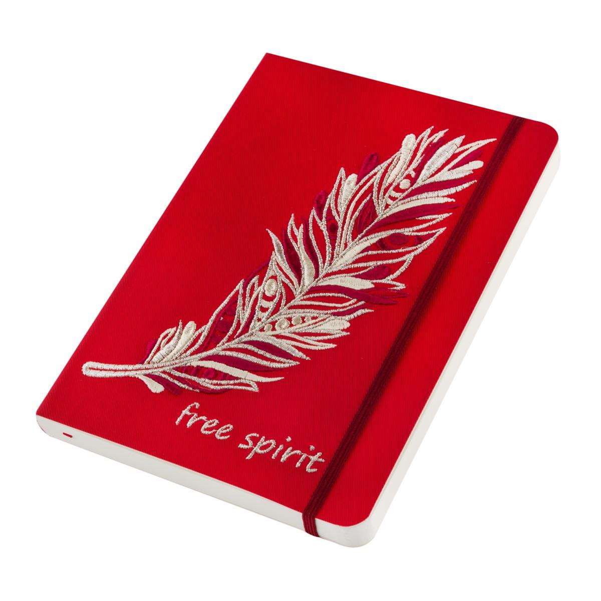 Блокнот из эко-кожи с вышитой пером Free spirit, красный. Фото №2. | Народный дом Украина