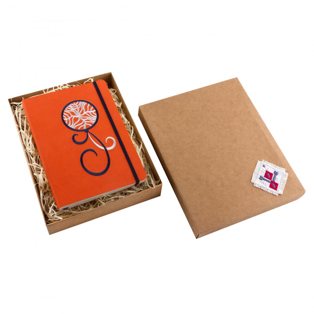 Eco-leather notebook with embroidered Dream catcher, orange. Photo №3. | Narodnyi dim Ukraine