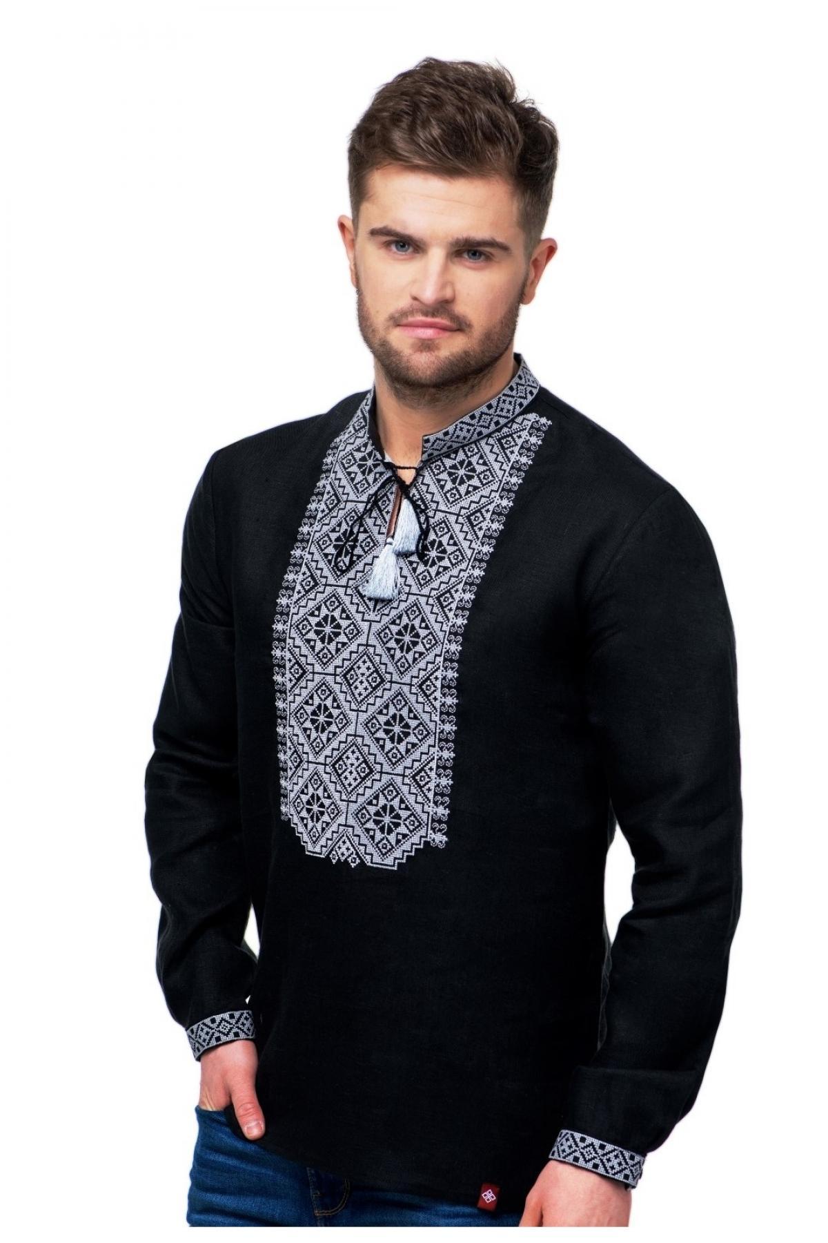 Черная льняная мужская вышиванка с серой вышивкой на груди, воротничках и манжетах. Фото №1. | Народный дом Украина