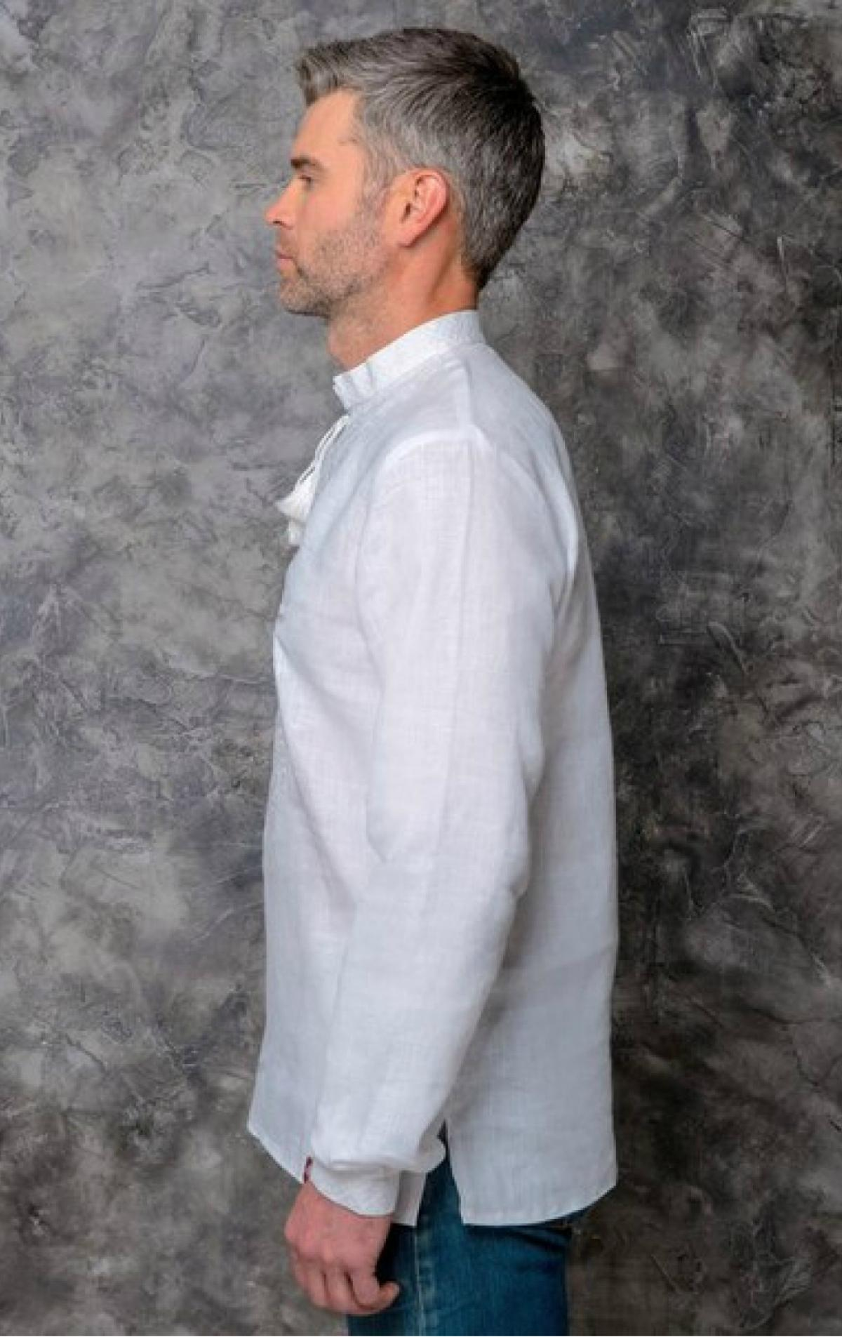 Male flinen embroidered shirt of white color with white embroidery. Photo №2. | Narodnyi dim Ukraine