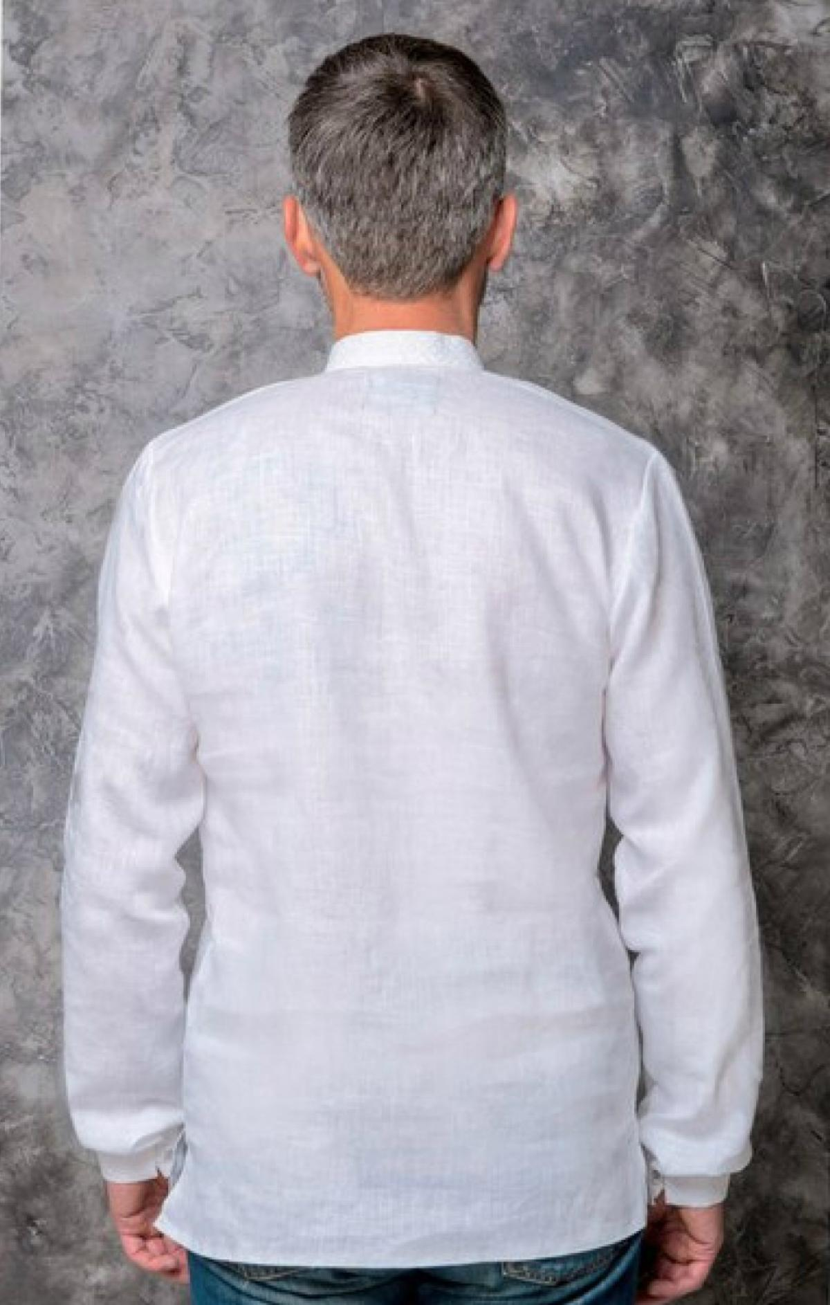Male flinen embroidered shirt of white color with white embroidery. Photo №3. | Narodnyi dim Ukraine