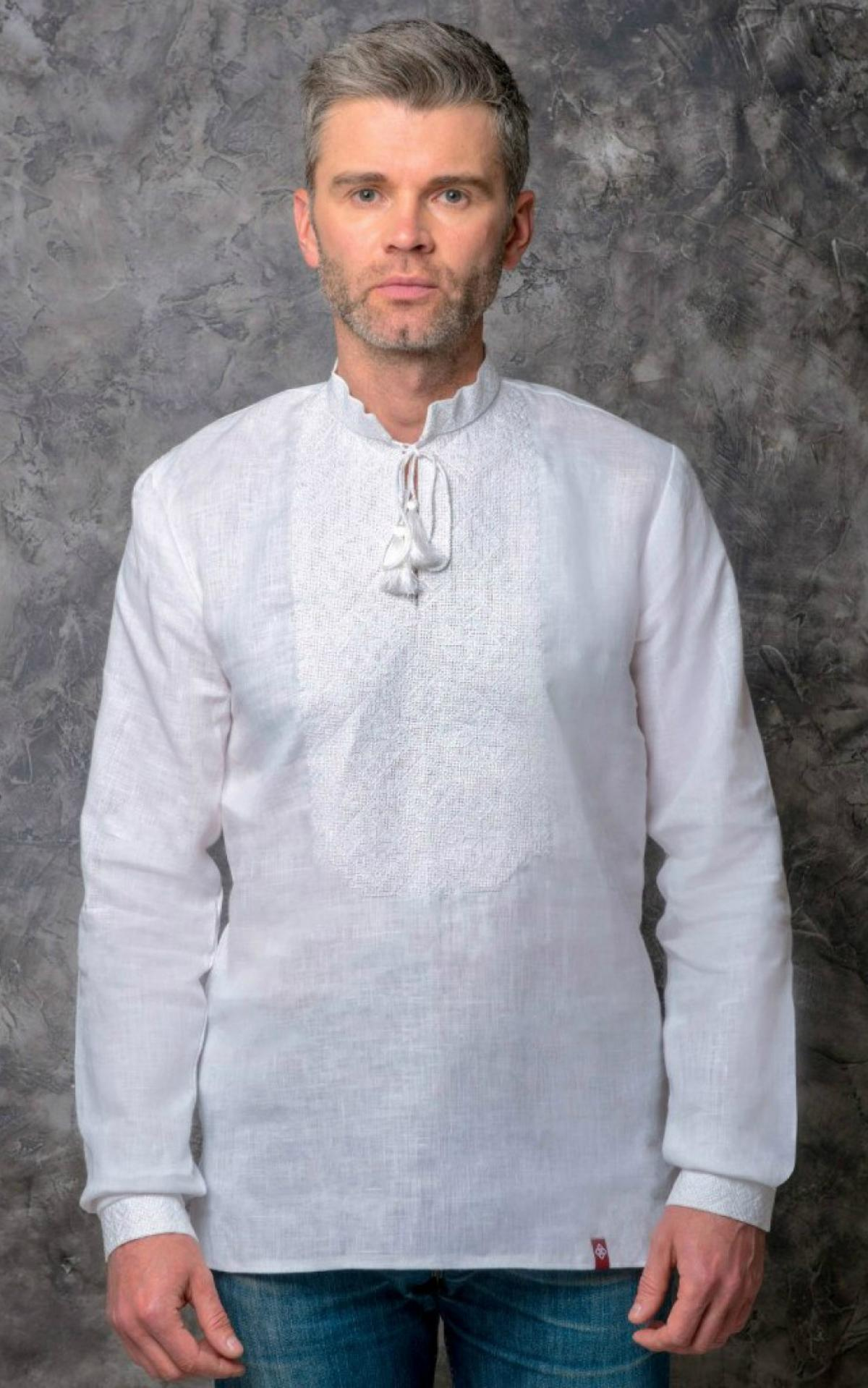 Male flinen embroidered shirt of white color with white embroidery. Photo №1. | Narodnyi dim Ukraine