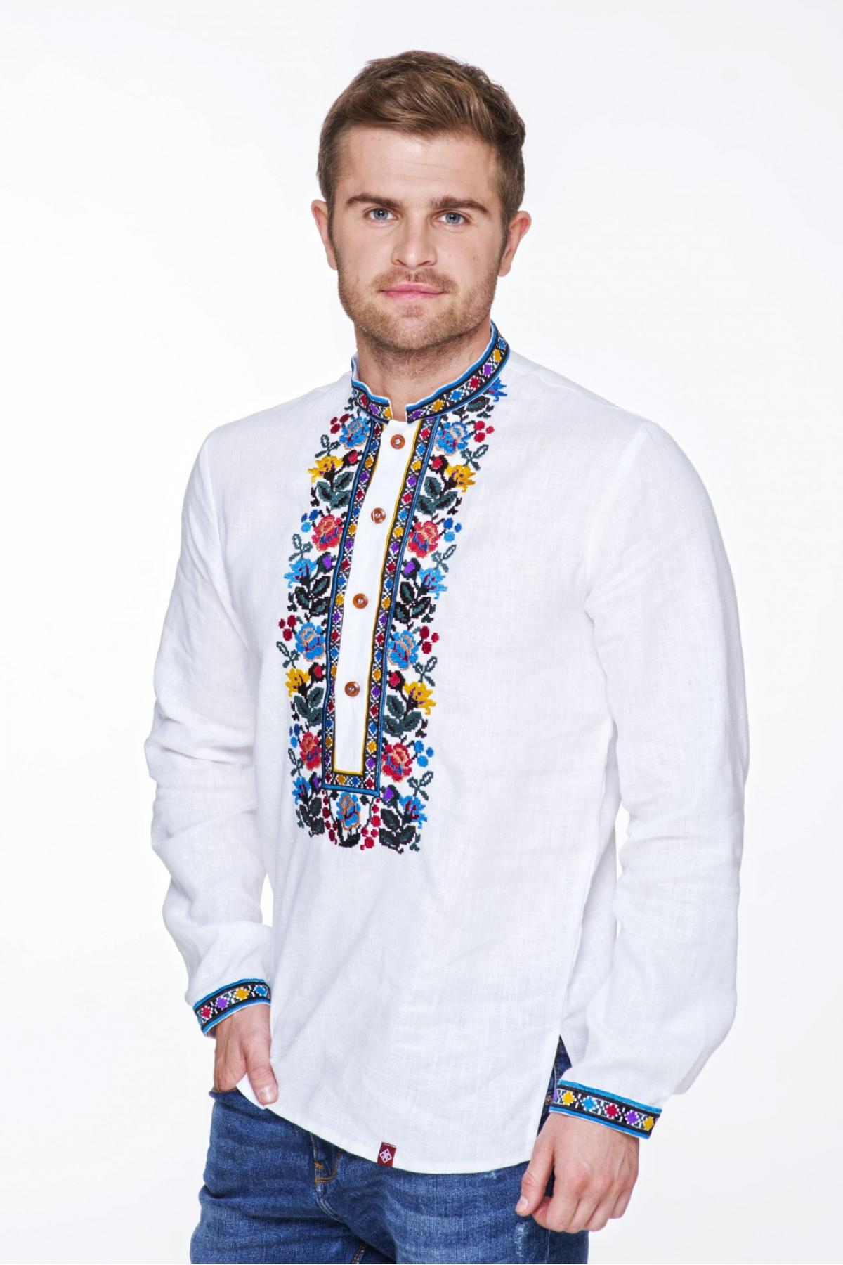White male embroidery with Borshchivsky patterns. Photo №1. | Narodnyi dim Ukraine
