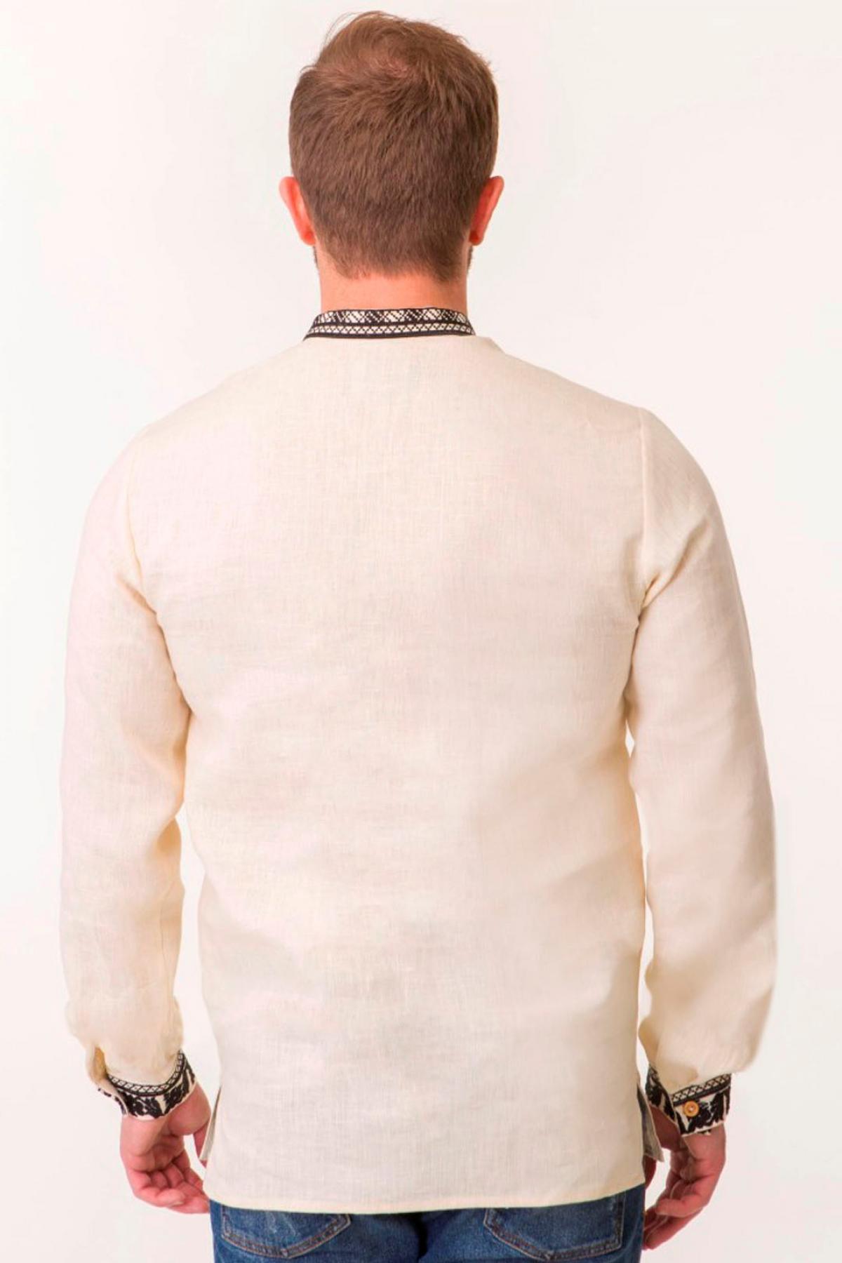 Чоловіча вишиванка на натуральному льоні з чорною вишивкою. Фото №3. | Народний дім Україна