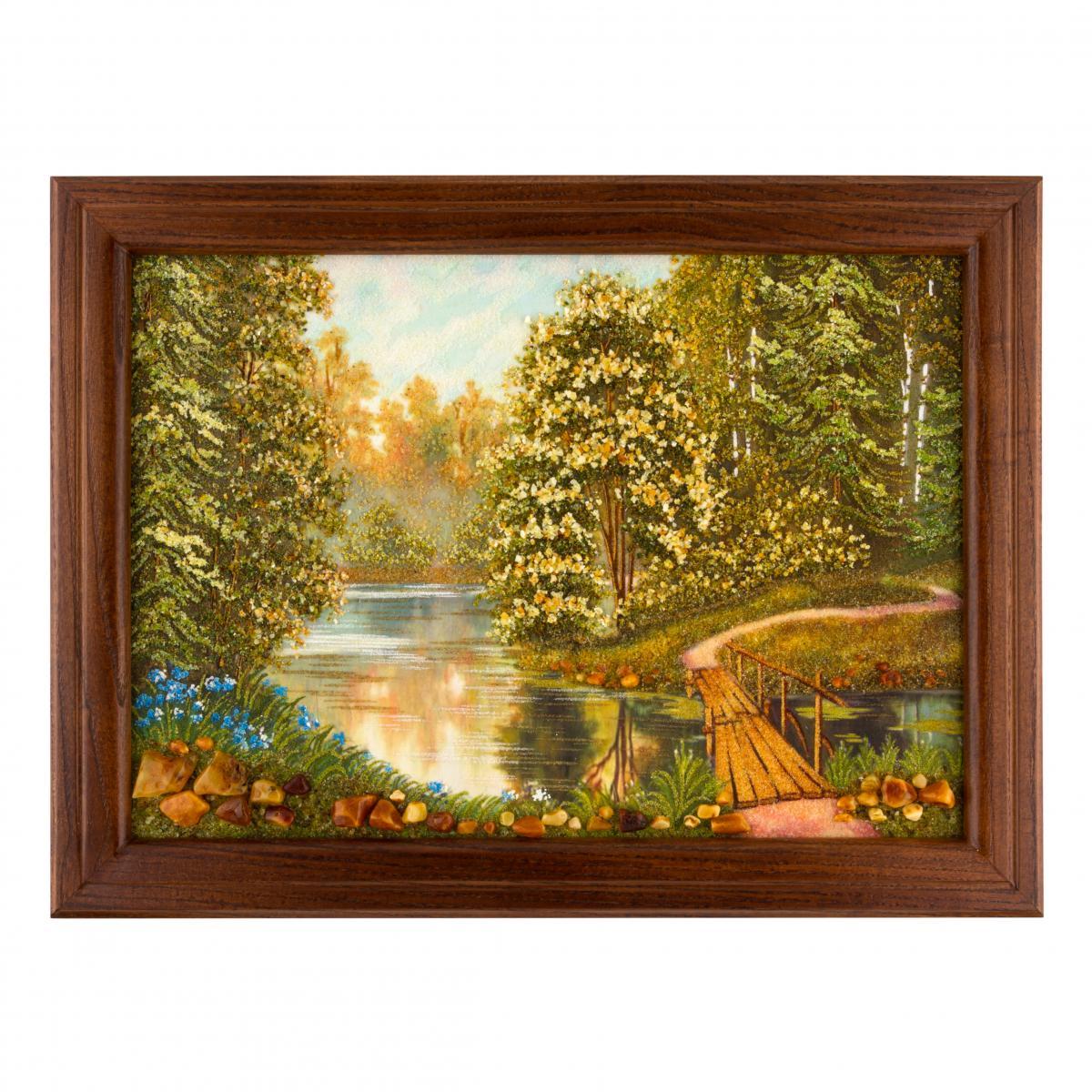 Картина з бурштину Лісова річка