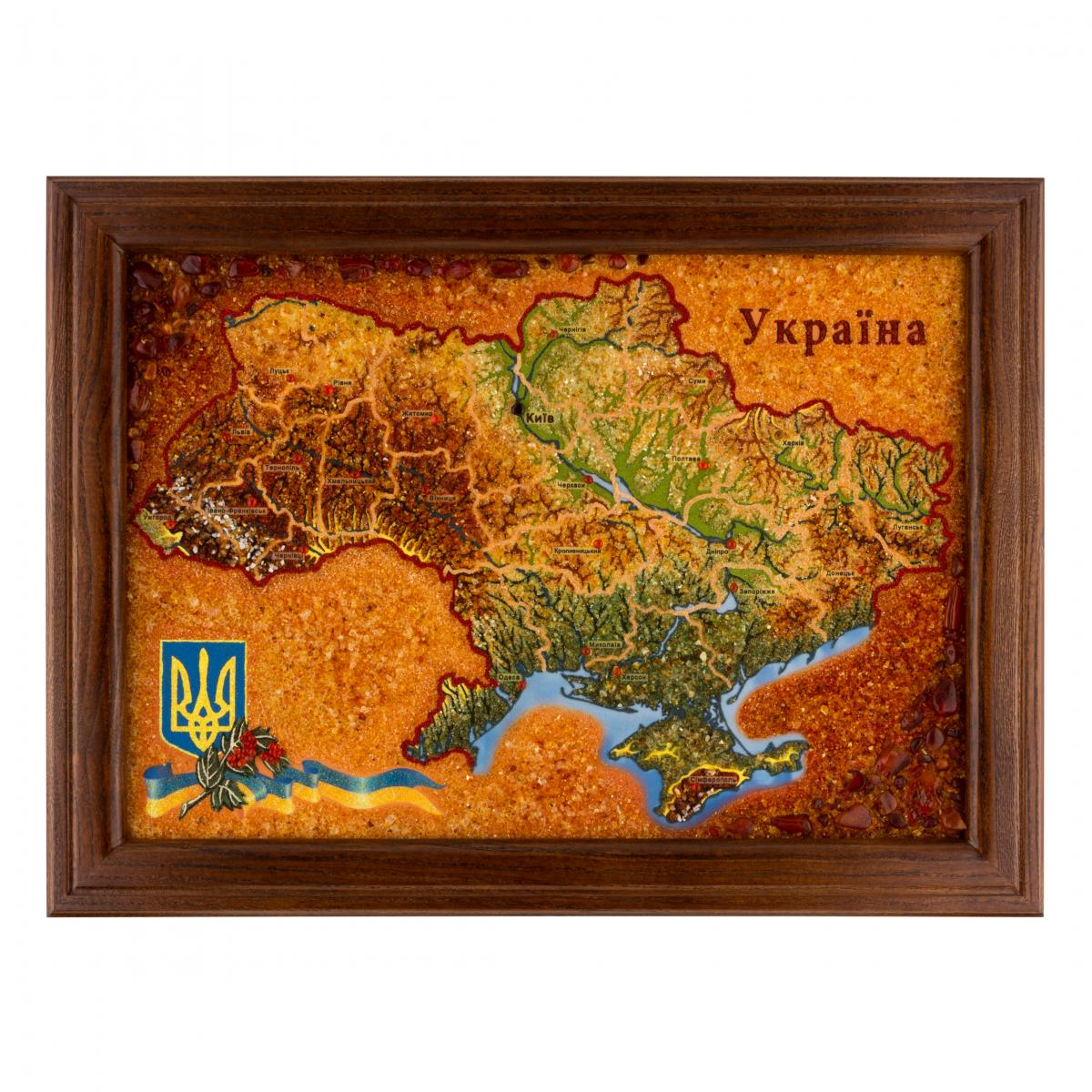 "Picture with amber ""Map of Ukraine"". Photo №1. 