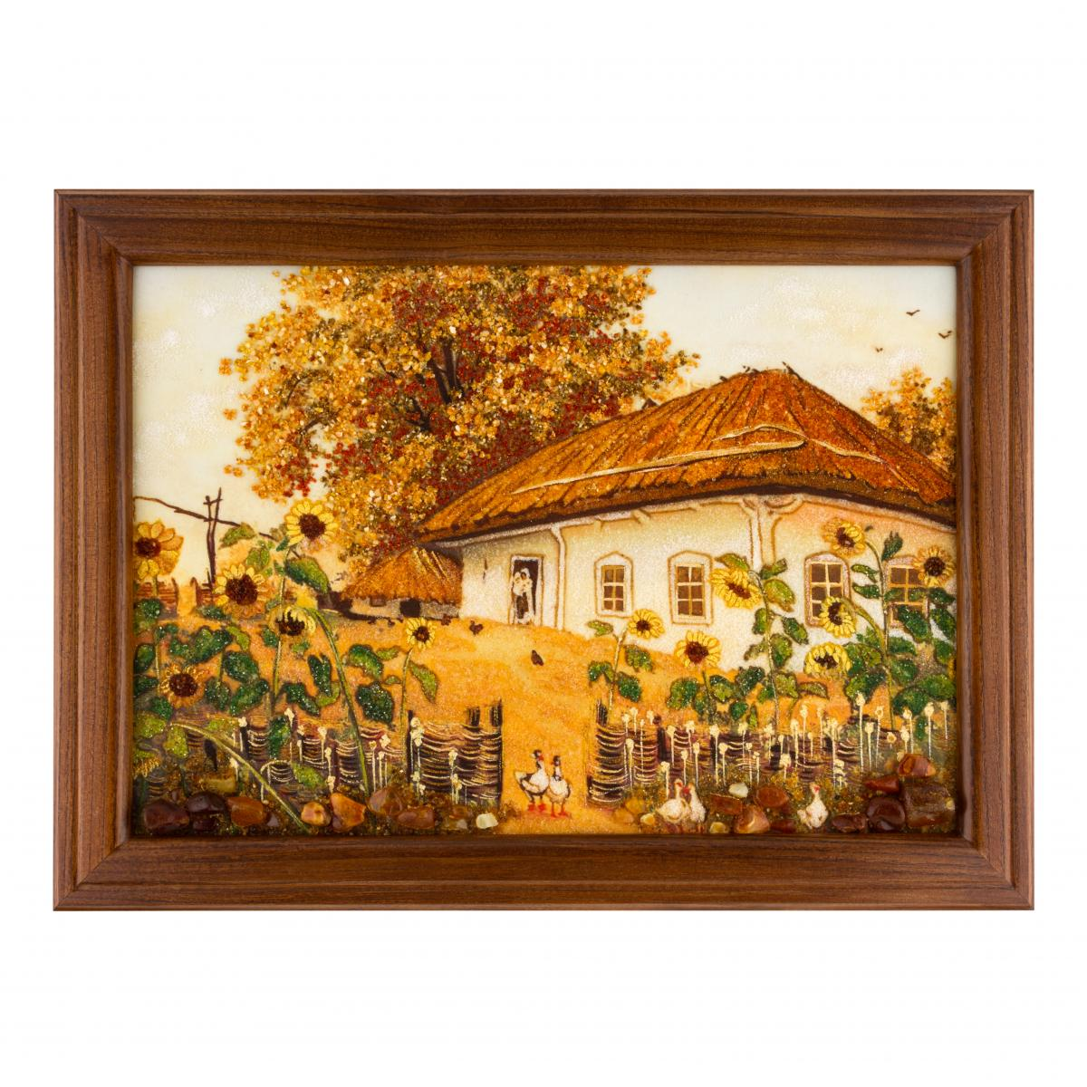 "Painting with amber ""Ukrainian hut"". Photo №1. 