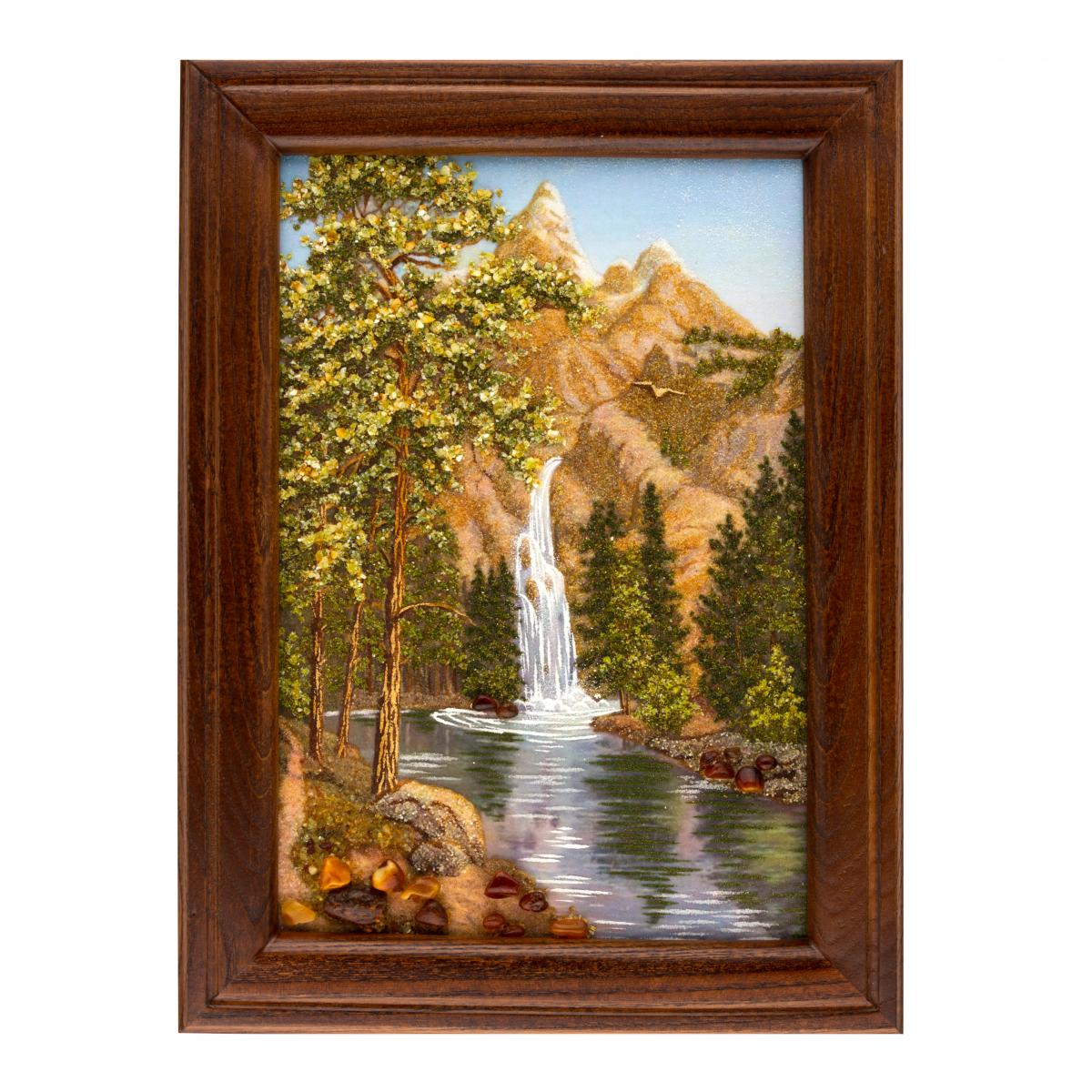 "Painting with amber ""Mountain Waterfall"". Photo №1. 