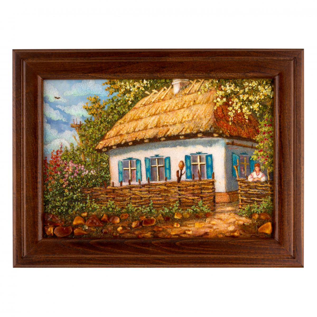 Picture of an amber Ukrainian hut behind the fence. Photo №1. | Narodnyi dim Ukraine