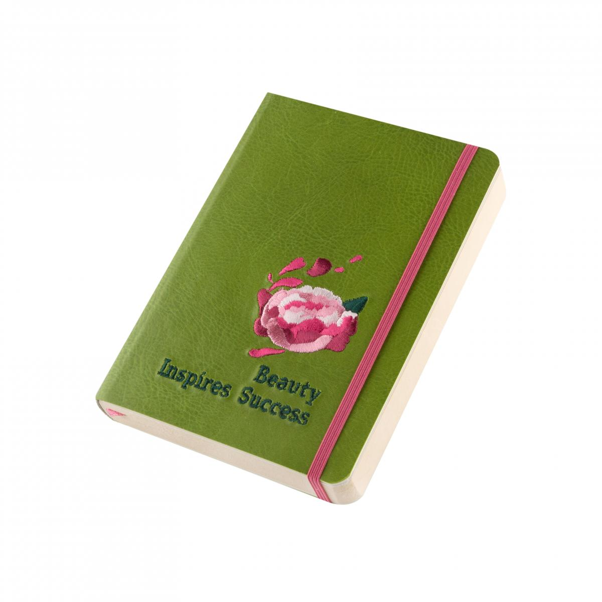 Eco-leather notebook with embroidery Beauty inspires success, green. Photo №3. | Narodnyi dim Ukraine