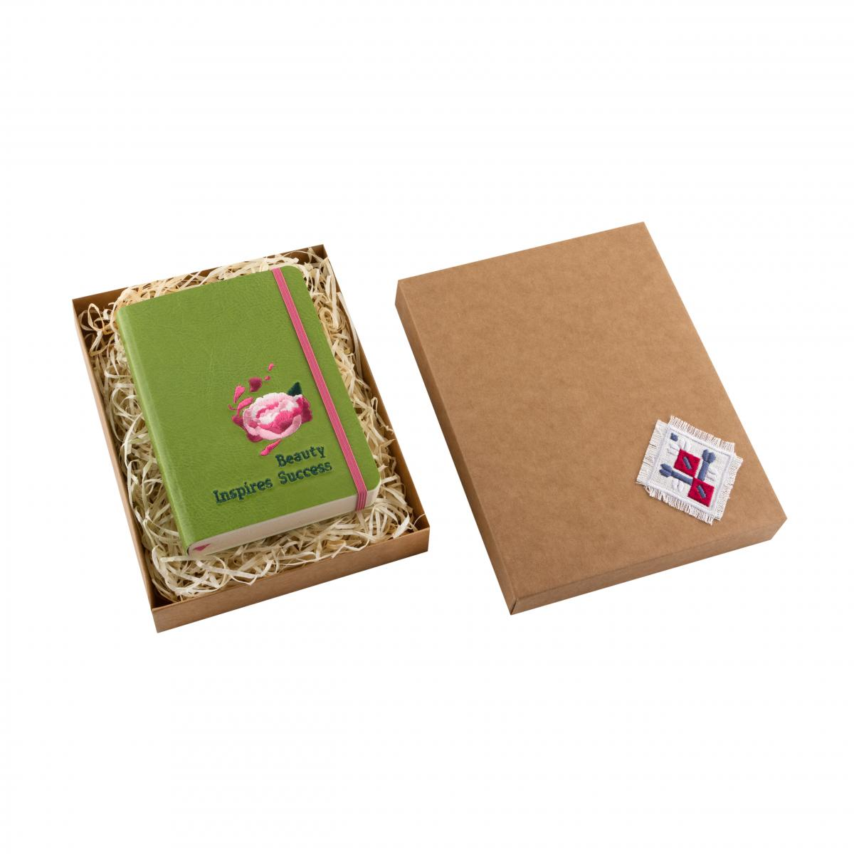 Eco-leather notebook with embroidery Beauty inspires success, green. Photo №2. | Narodnyi dim Ukraine