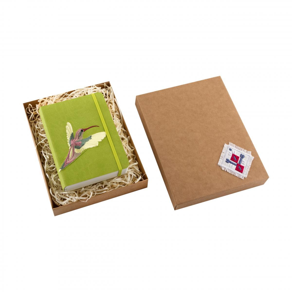 "Eco-leather notebook with embroidery ""Stork"", green. Photo №3. 