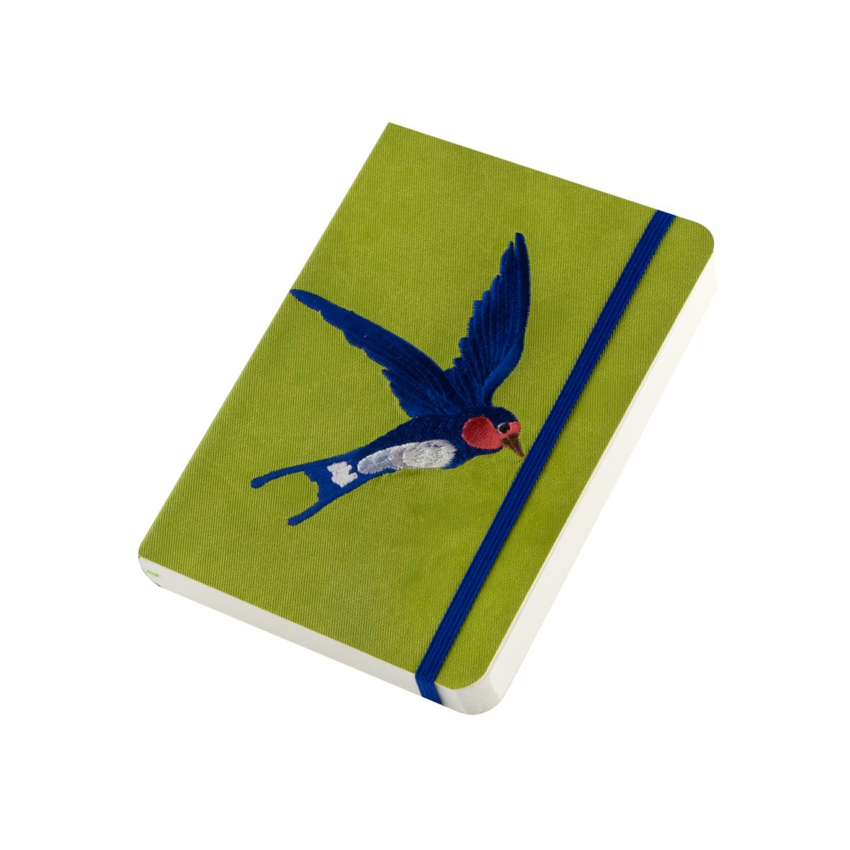 "Eco-leather notebook with embroidery ""Swallow"", green. Photo №2. 