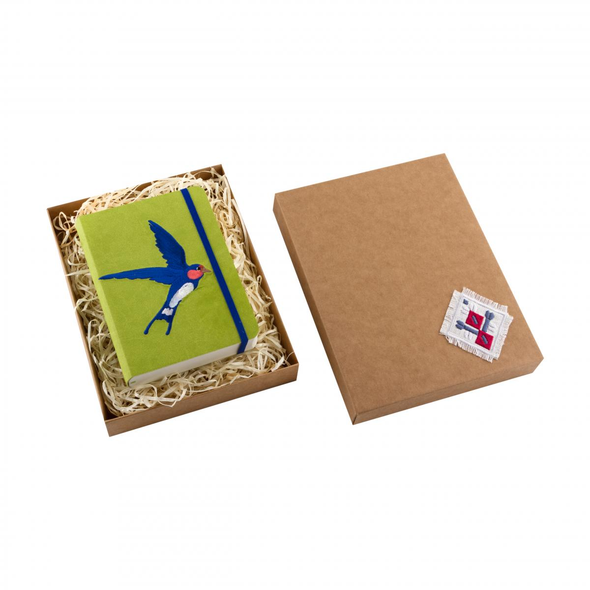 "Eco-leather notebook with embroidery ""Swallow"", green. Photo №3. 