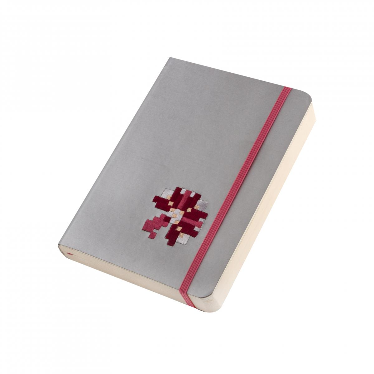 Eco-leather notebook with embroidery Kachalochka, silver. Photo №2. | Narodnyi dim Ukraine