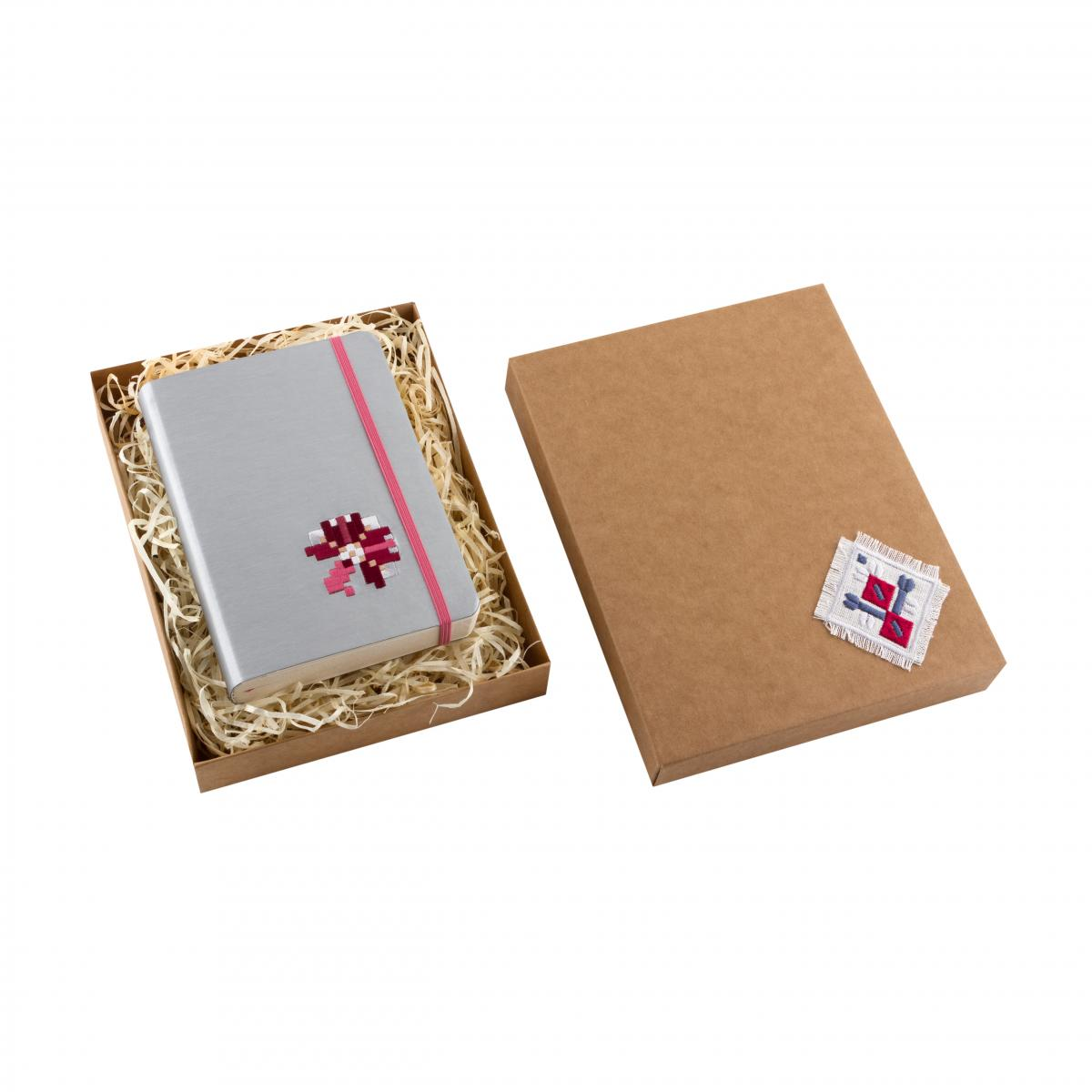 Eco-leather notebook with embroidery Kachalochka, silver. Photo №3. | Narodnyi dim Ukraine