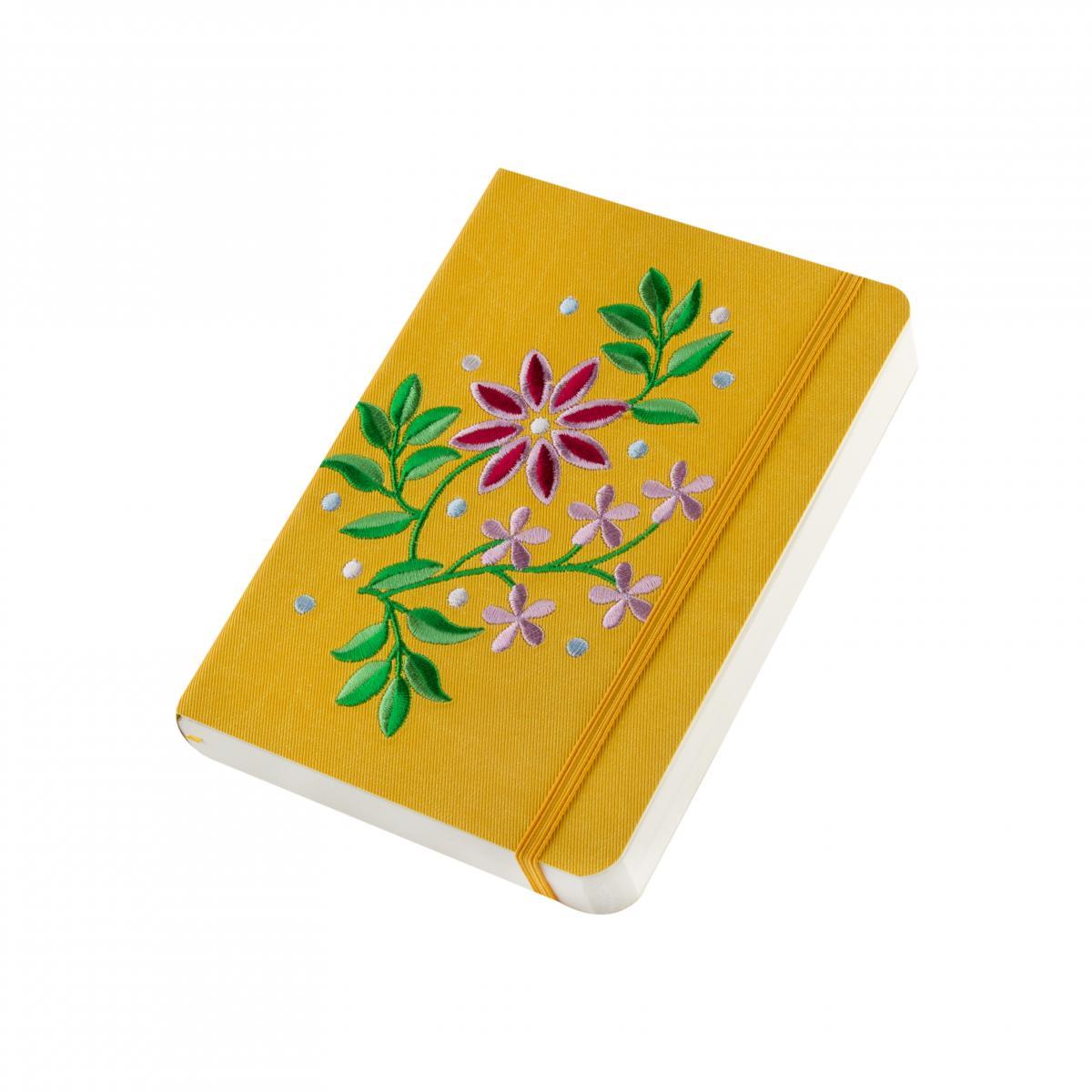Блокнот с эко-кожи с вышивкой Тернопольщина, желтый. Фото №2. | Народный дом Украина
