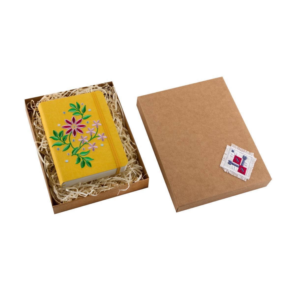 Блокнот с эко-кожи с вышивкой Тернопольщина, желтый. Фото №3. | Народный дом Украина