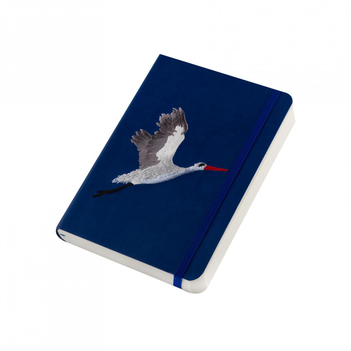 "Eco-leather notebook with embroidery ""Stork"", dark blue. Photo №2. | Narodnyi dim Ukraine"