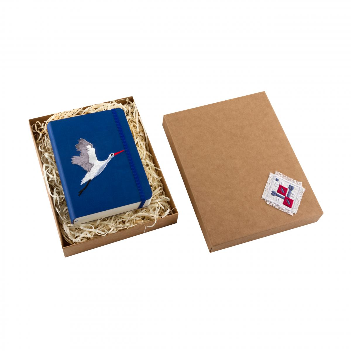 "Eco-leather notebook with embroidery ""Stork"", dark blue. Photo №3. | Narodnyi dim Ukraine"
