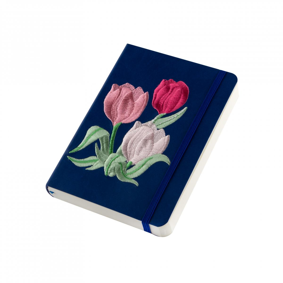 "Eco-leather notebook with embroidery ""Tulips"", dark blue. Photo №2. 