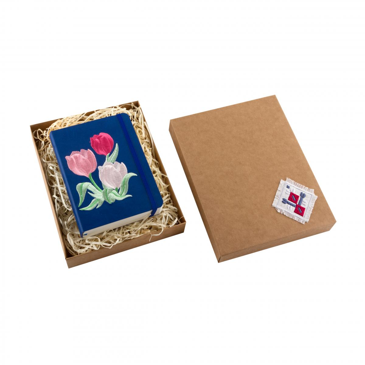 "Eco-leather notebook with embroidery ""Tulips"", dark blue. Photo №3. 