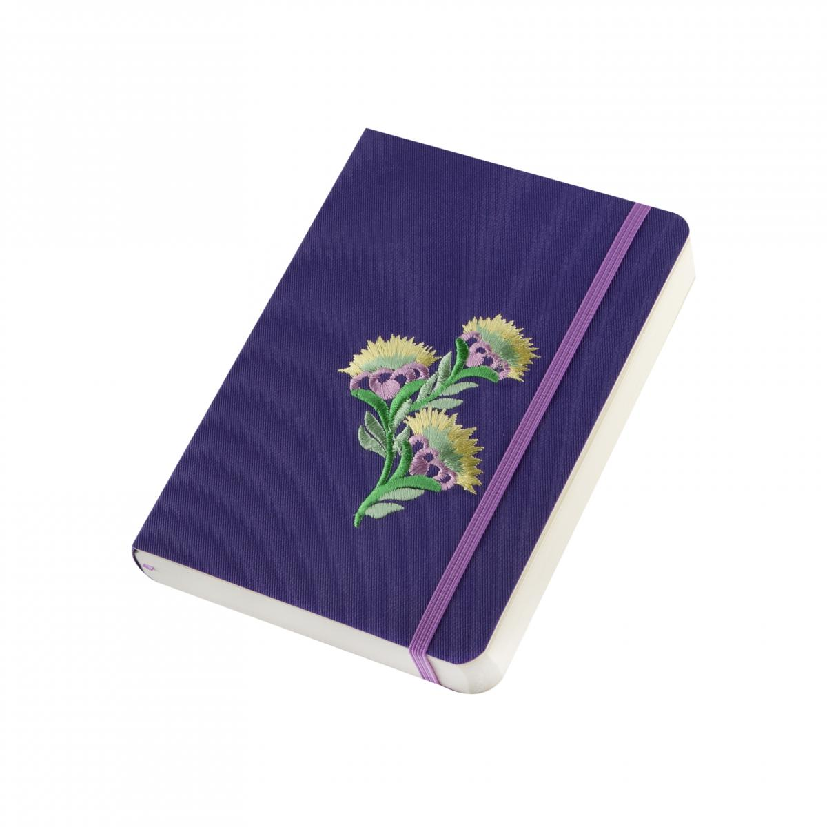 "Eco-leather notebook with embroidery ""Flower of rapeseed"", violet. Photo №2. 