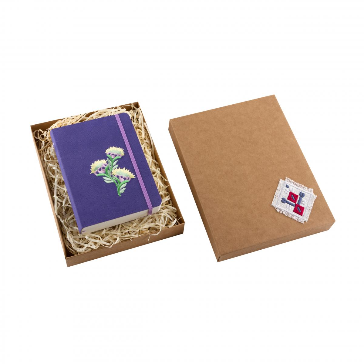 "Eco-leather notebook with embroidery ""Flower of rapeseed"", violet. Photo №3. 