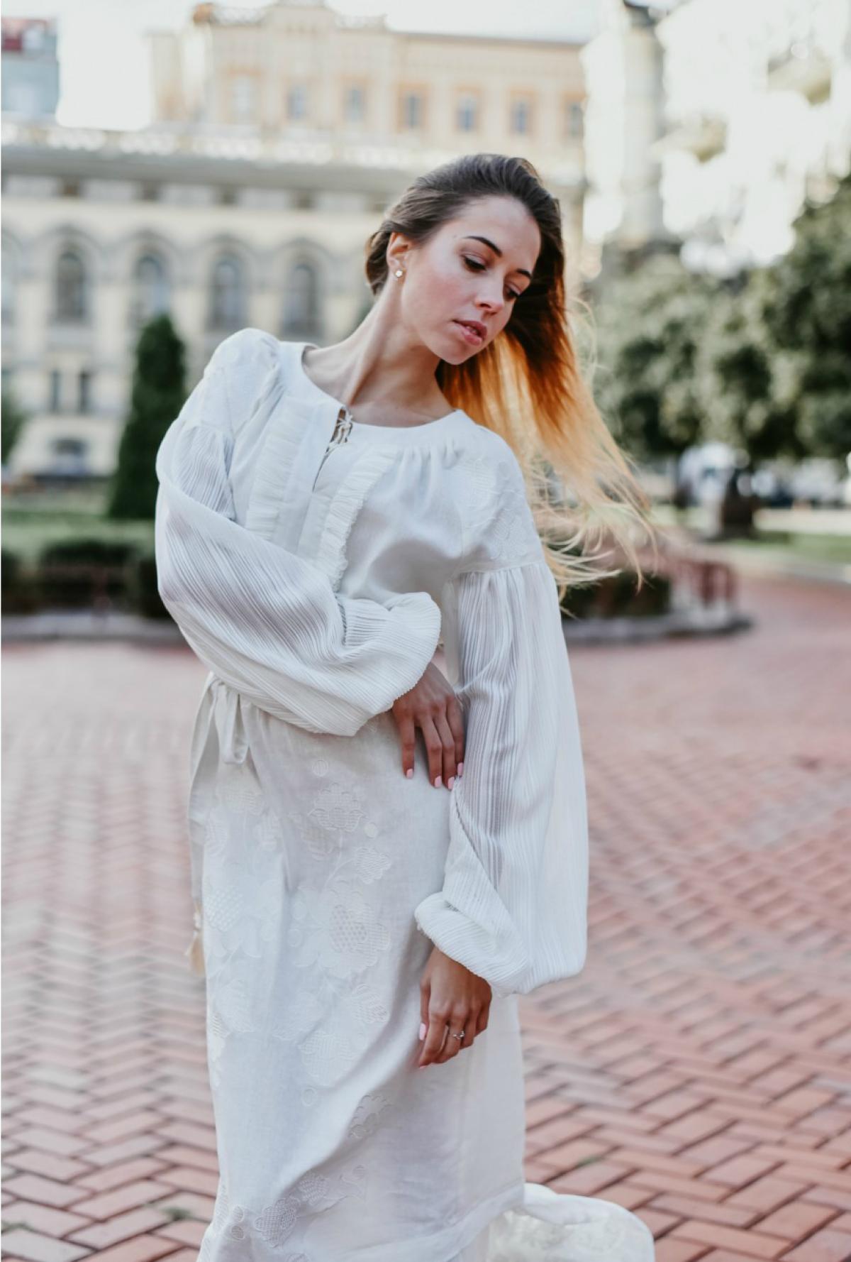 White elegant long embroidered dress. Photo №2. | Narodnyi dim Ukraine