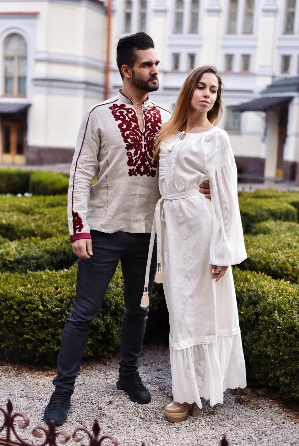 White elegant long embroidered dress. Photo №4. | Narodnyi dim Ukraine