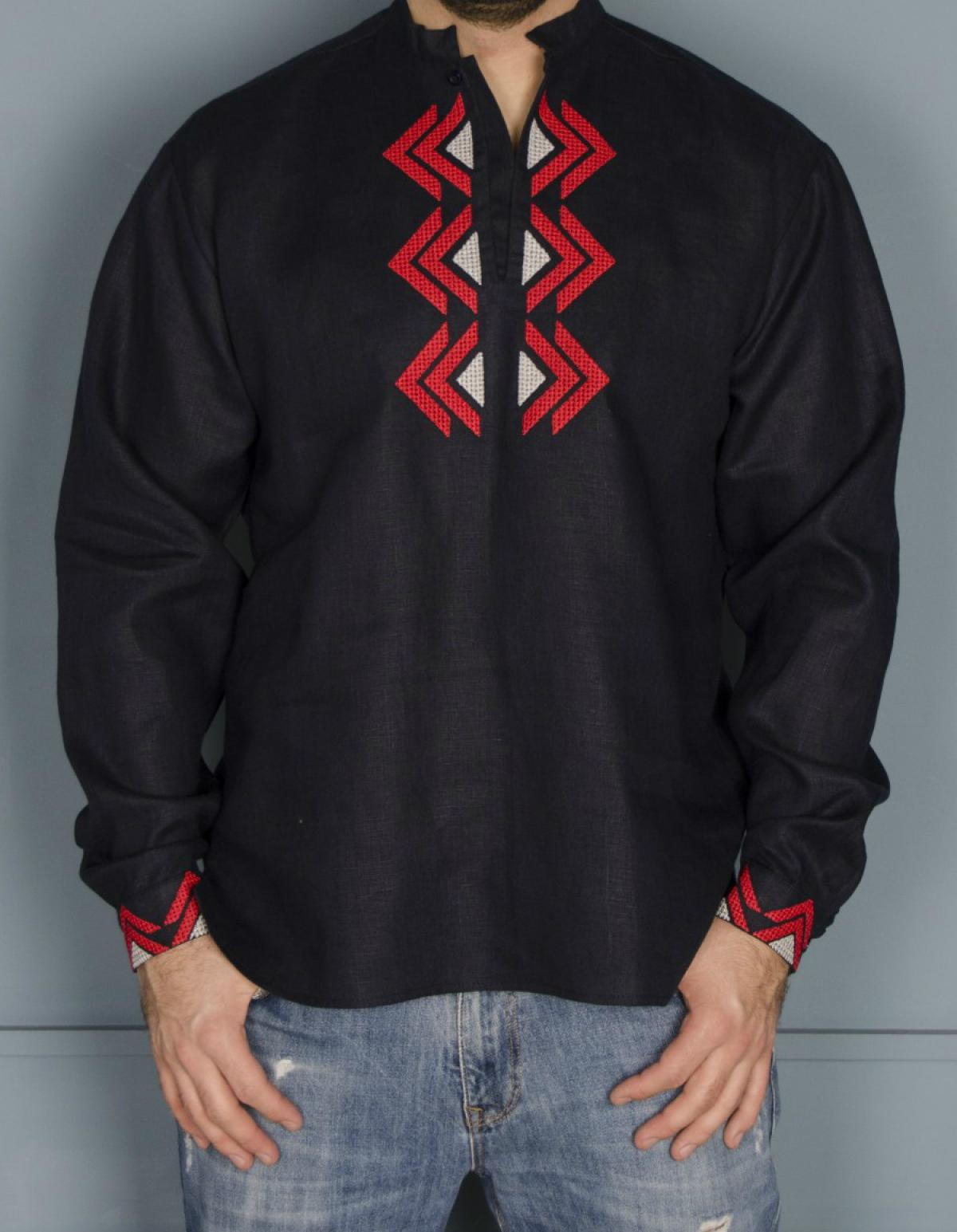 Male embroidery of dark blue color with a red-gray embroidered pattern. Photo №2. | Narodnyi dim Ukraine
