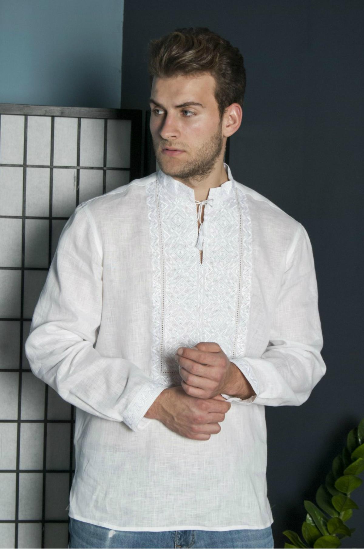 White male embroidered shirt with white embroidery. Photo №1. | Narodnyi dim Ukraine