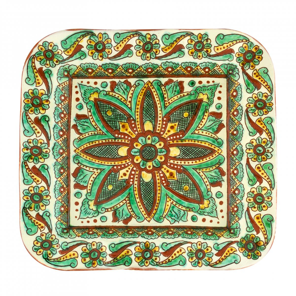 Square plate with floral pattern, handmade work, 29X29 cm. Photo №1. | Narodnyi dim Ukraine