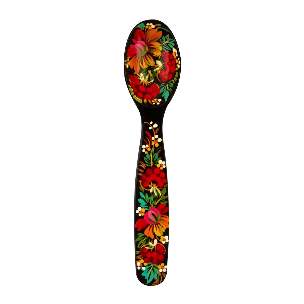 Ложка деревянная расписная с красочными цветами, 26 см
