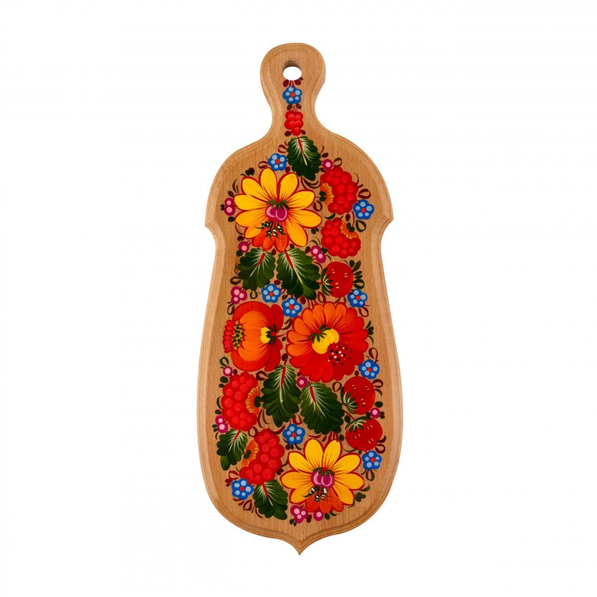Расписная дощечка с красочными цветами, 26 см