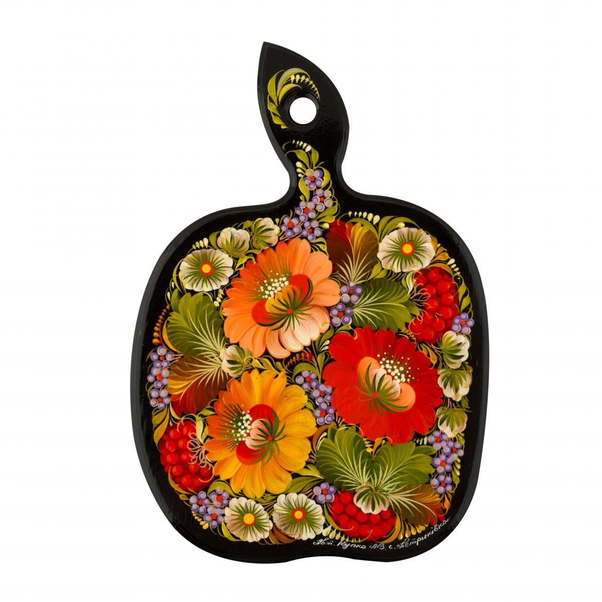 Расписная дощечка с узором Петриковскими цветами, 20 см
