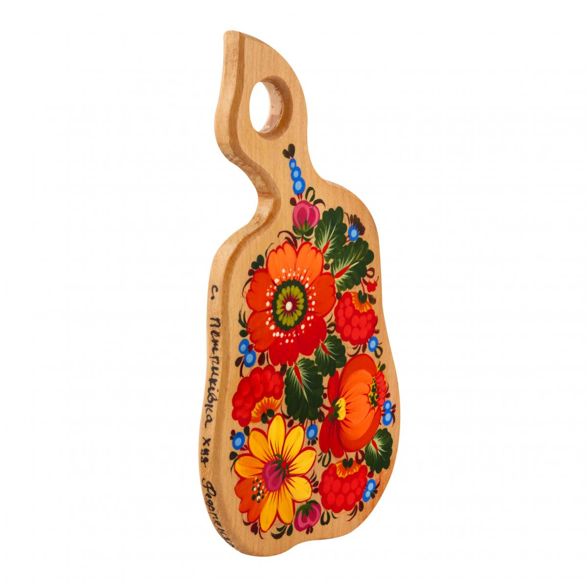 Hand-painted wooden board with colorful Petrykivskiy pattern, 33 cm. Photo №2. | Narodnyi dim Ukraine