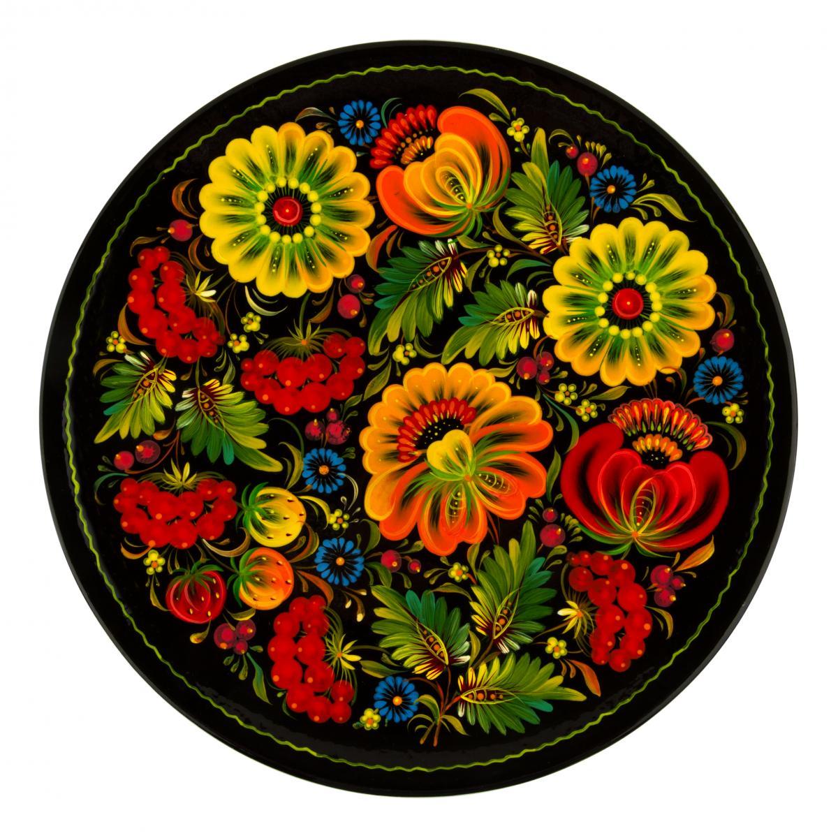 Расписная сувенирная тарелка с Петриковской росписью, 30 см. Фото №1.   Народный дом Украина