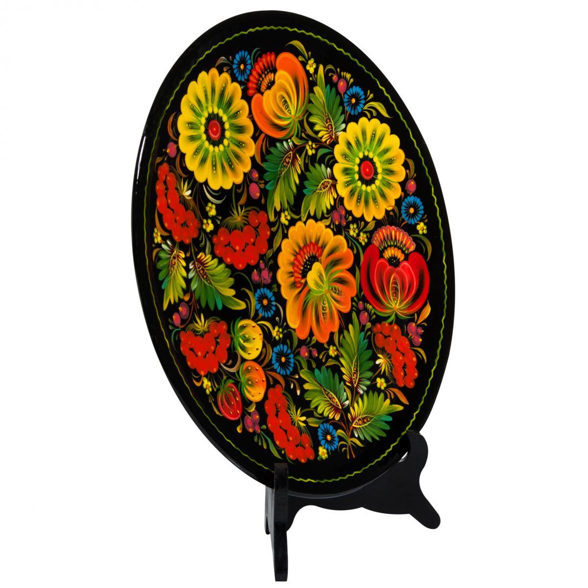 Расписная сувенирная тарелка с Петриковской росписью, 30 см. Фото №2.   Народный дом Украина