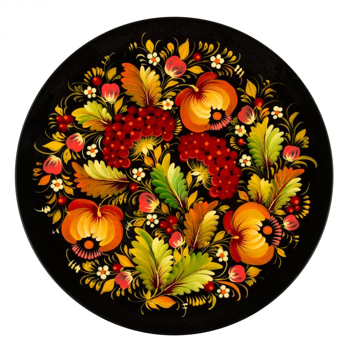 Сувенирная тарелка с узорами Петриковской росписи, 30 см. Фото №1. | Народный дом Украина