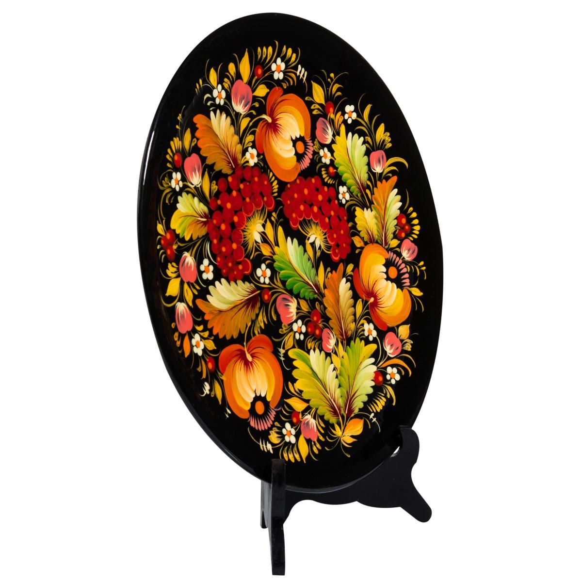 Сувенирная тарелка с узорами Петриковской росписи, 30 см. Фото №2. | Народный дом Украина