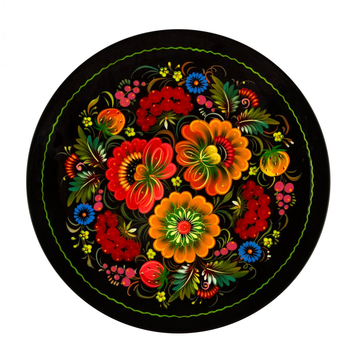 Painted souvenir plate with fabulous Petrykivsky flowers, 30 cm. Photo №1. | Narodnyi dim Ukraine