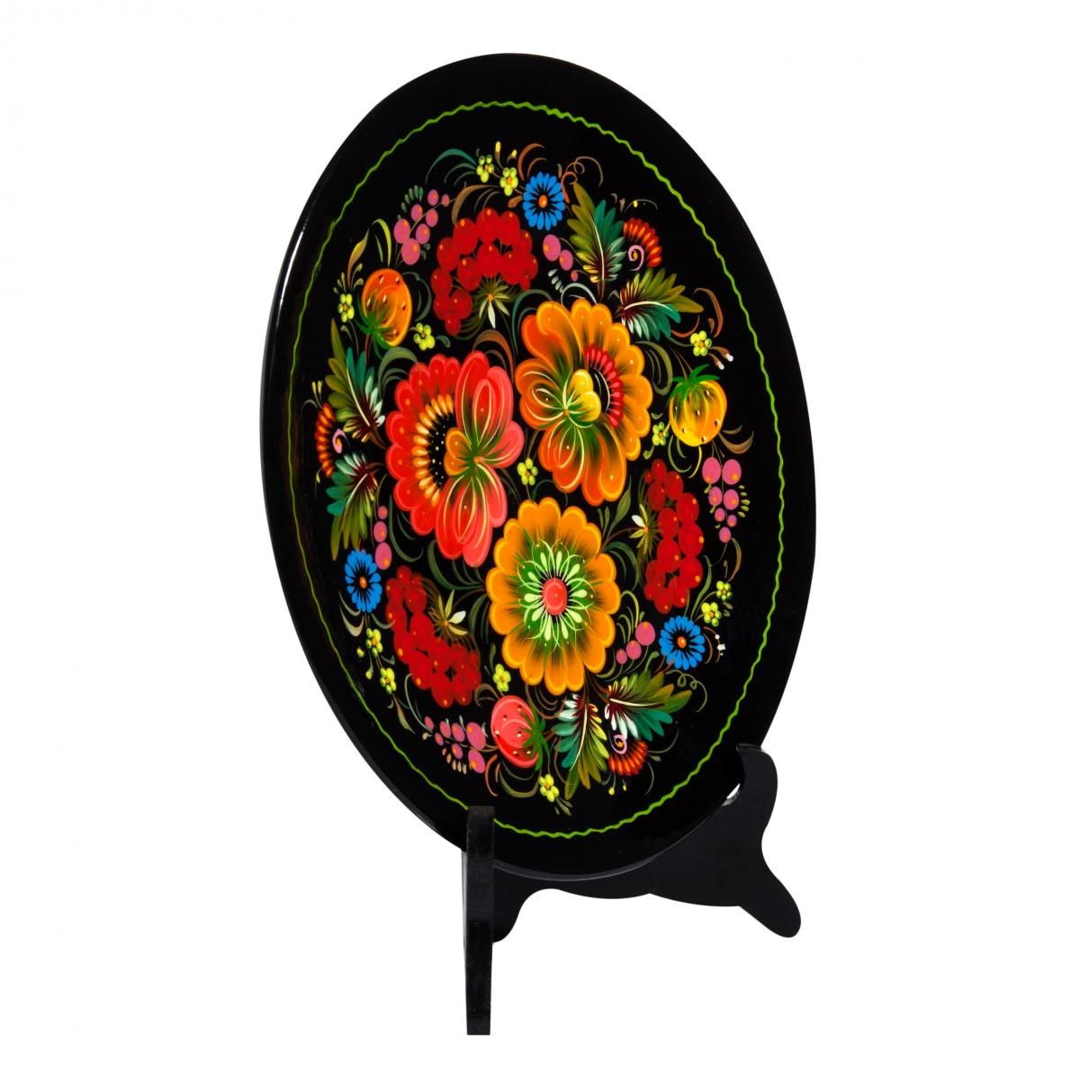 Painted souvenir plate with fabulous Petrykivsky flowers, 30 cm. Photo №2. | Narodnyi dim Ukraine
