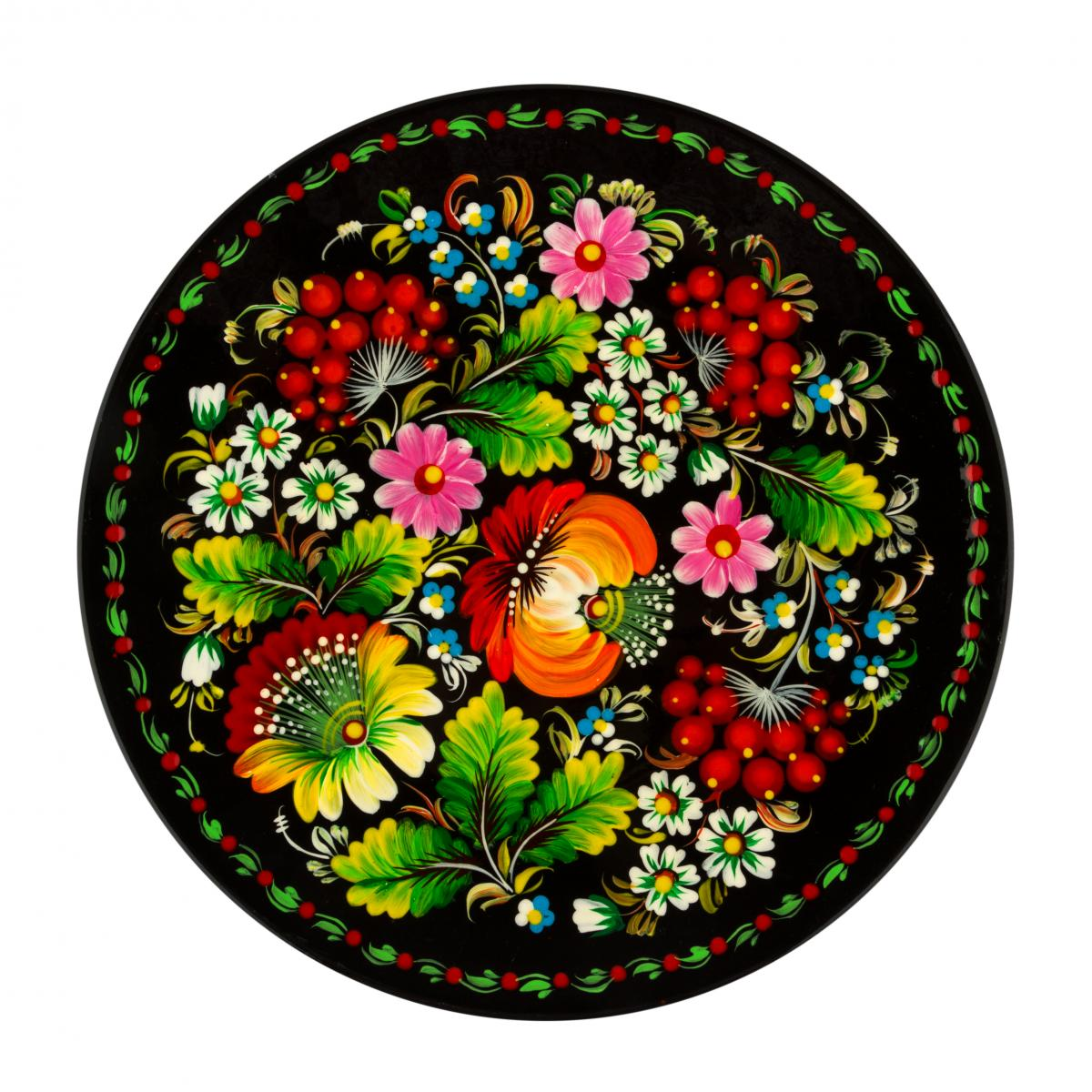Painted plate with colorful flowers in the technique of Petrykivsky painting, 30 cm. Photo №1. | Narodnyi dim Ukraine