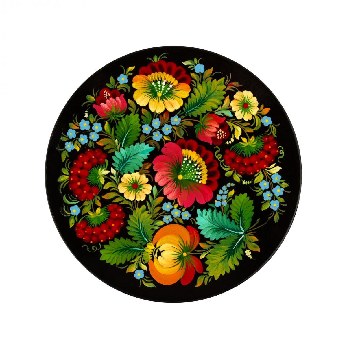 Painted souvenir plate with Petrykivsky painting, 23 cm (in assortment). Photo №2. | Narodnyi dim Ukraine