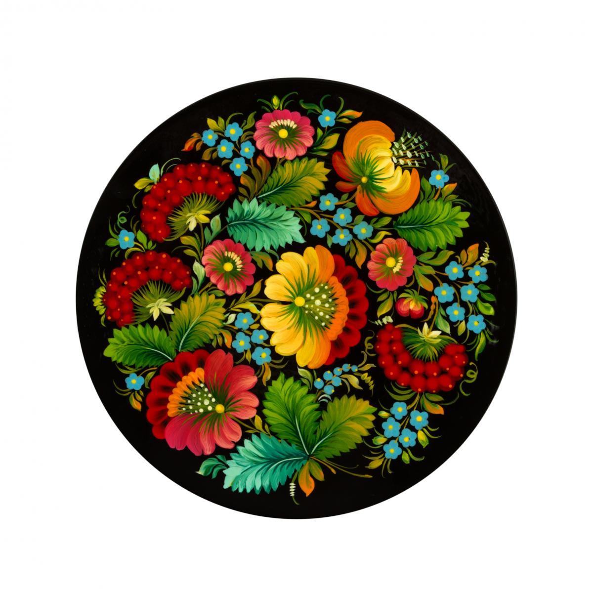 Painted souvenir plate with Petrykivsky painting, 23 cm (in assortment). Photo №3. | Narodnyi dim Ukraine