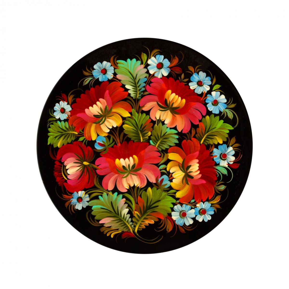 Painted souvenir plate with Petrykivsky painting, 23 cm (in assortment). Photo №4. | Narodnyi dim Ukraine