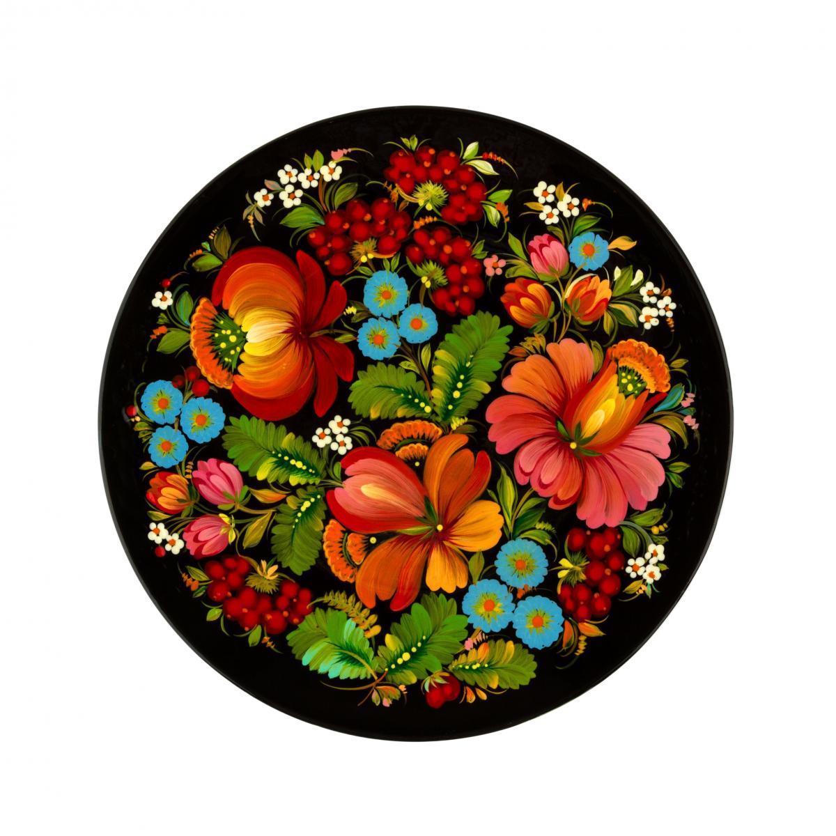 Painted souvenir plate with Petrykivsky painting, 23 cm (in assortment). Photo №1. | Narodnyi dim Ukraine